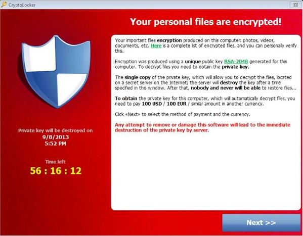Cryptolocker: malware che cripta con con chiave RSA-2048 tutti i file